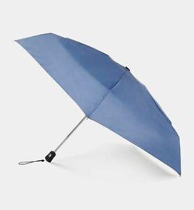 $95 Totes Mini Traveler Automatic Open Close Blue Compact Folding Rain Umbrella
