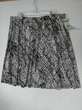 LAURA ASHLEY WOMAN FLARE STRETCH BROWN WHITE SKIRT SIZE 2X NWT EASY WEAR $98.00
