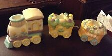 CUTE 3 PIECE CERAMIC EASTER TRAIN CANDLE HOLDERS -