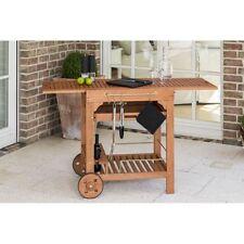 Eukalyptus Kombiwagen Gartentisch, Holz mit Rollen Grillwagen Grillen Tablett