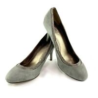 Ann Taylor Loft Women's Size 7M Gray Suede Snakeskin Print Pumps Shoes