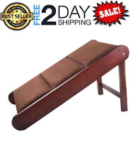 Foldable Pet Ramp Freestanding For Cats Dog Wood Steps Ladder Stairs High Bed