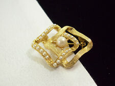 ABSTRACT Seed Pearl Brushed Gold Plate Brooch Pin Vintage Estate Career