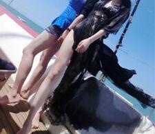 Women Summer Style Cotton Material Lace Decor Long Beach Wear Long Dress