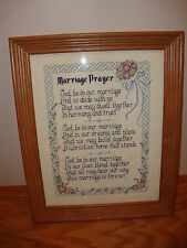 Framed Counted Cross Stitch:  Marriage Prayer 10 x 14 in.