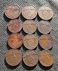 AUTHENTIC OLD COINS THIRD REICH GERMANY 1&2 REICHSPFENNG WORLD WAR II - MIX 758