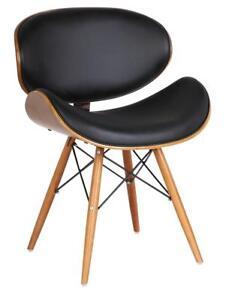 Retro Style   Faux Leather Eiffel Dining Office Chair Wood Legs Walnut Finish