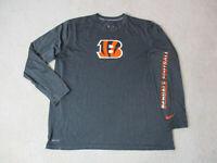 NIKE Cincinnati Bengals Shirt Adult 2XL XXL Gray Orange Player Issue Dri Fit *