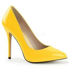 Pleaser Women's Classic High Stiletto Heel Dress Pump Shoes Amuse-20 12 Neon Yellow Pat