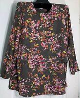 New J Jill women Plus size 2XL Printed Knit overlay Top Tunic Pima cotton Floral