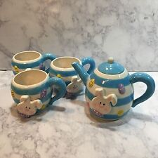 Burton & Burton Bunny Tea Pot W Lid (3) Cups Mugs Set Exclusively for Fib New