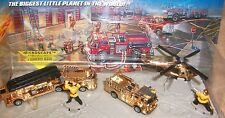 GORGEOUS RARE LOT GOLD FIRE TRUCKS LADDER PUMPER HOT WHEELS MICRO MACHINES MOC