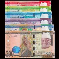 Gambia Set 6 PCS,  5+10+20+50+100+200 Dalasis, 2015, P-31 32 33 34 35 36, UNC