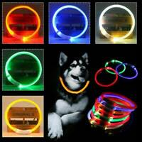 Pet Dog Cat Neck Collar Belt Night Flashing Safety Adjustable LED Light Up Band