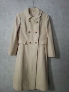 STUNNING Vintage Union Made Double Breasted Long Coat Cream Small Holiday
