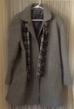 Women's Wool Blend Winter Coat by Herman Kay Size 14 Grey gray w/ plaid scarf