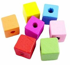 A 100g Pack of 14mm Assorted colour Square Wooden Beads.  J1175  R0402