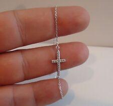 SIDEWAYS CROSS BRACELET W/ .35 CT LAB DIAMONDS / 925 STERLING SILVER/ 8''