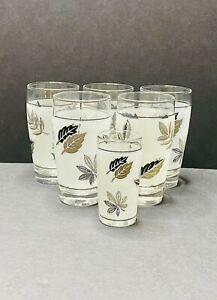 VTG Libbey Frosted Silver Foliage MCM Highball Glasses +1 Juice Glass