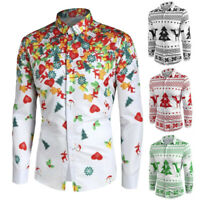 Mens Autumn Winter Casual Chirstmas Printed Long Sleeve Tops Blouse Button Shirt