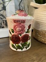 Coffee Canister Jar Country Shabby chic Floral Tea Coffee Ceramic Jar Lid