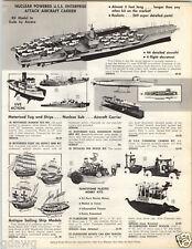 1962 PAPER AD Aurora USS Enterprise Aircraft Carrier Model Flintstone Yacht Car