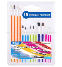 15pc Paint Brush Set Flat Round Tip Oil Watercolor Acrylic Art Craft School Tool