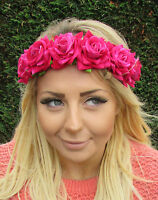 Hot Pink Rose Flower Garland Headband Festival Hair Band Crown Elastic Boho 1946