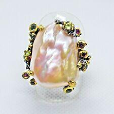 Unikat Barockperle Peridot Rhodolith Saphir Ring 925er Black Rhodium Gold 17,5mm