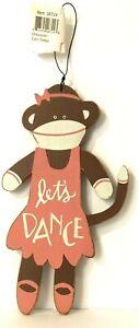 "Sock Monkey Sign Ballerina Let's Dance 8"" Ornament by Primitives by Kathy"