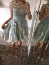 🌸 Chi Chi London Uk6 Uk8 Petite Dress Skater Mini Lace Blue Floral Prom