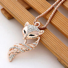 1 pcs Cute Fox Pendant Crystal Chain Long Necklace Lovely Jewelry Sweater Chain