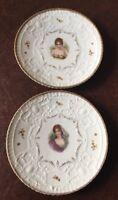 Weimar Porcelain Antique Set Of 2 Beautiful Hand Painted Portrait Plates
