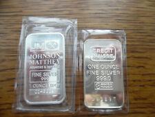 2 Lot 1 Ounce Each Fine Silver Bullion Bars Credit Suisse Johnson Matthey JM BU