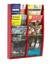 Red Wall Mounted Leaflet Holder / Rack with 8 x A5 Portrait Pockets