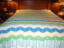 Handmade Handcrafted Crochet Afghan Throw Blanket  Bedspread ~ Chevron Pattern