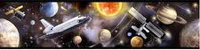 OUTER SPACE TRAVEL WALLPAPER BORDER peel & stick sun star planet satellite