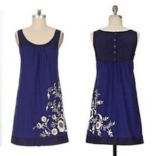Floreat Anthropologie Missouri Primrose Blue Floral Embroidery Dress 12 Petite
