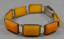 Antique vintage natural baltic amber silver bracelet egg yolk butterscotch old