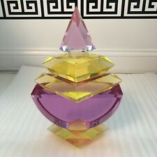Hivo Van Teal signed Lucite Perfume Bottle Sculpture in pink and yellow