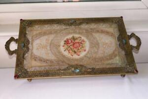 ANTIQUE JEWELED FILIGREE ORMOLU FOOTED DRESSER TRAY w PETIT POINT LACE INSERT