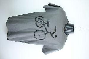 Gildan Ultra Cotton Activewear Grey Shirt Black Bike Size M Short Sleeve T-Shirt