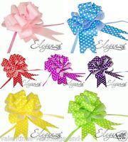 50mm Polka Dot Pull Bows  Wedding Pew Bouquet Car Ribbon Gift Craft Floristry