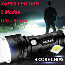 XHP50 LED USB Rechargeable Flashlight Waterproof Ultra Bright Lamp 5 Modes/26650