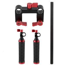 Handle Grips+15mm Rod Clamp Support Kit for DSLR Camera Camcorder Shoulder Rig