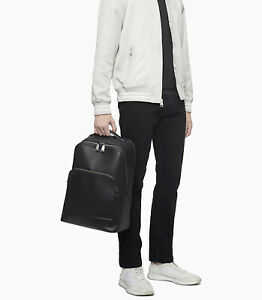 Calvin Klein Business Casual Zip Backpack Black Faux Leather Men's 4640 9942 01