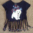 Women's Faded Glory beaded T-shirt size Medium 8-10 puppy patriotic blue