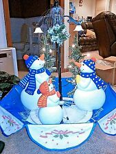 """Singing Snowing Snowman Christmas Tree Decoration w/ Clear Lights Decor 5.5"""" FT"""