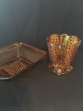 Antique~Yellow/Gold Glass ~bowl and vase ~rare~very old