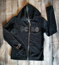 BCBG Max Azria Black Hoodie Full Zip Front Crystal Trim Long Sleeve M